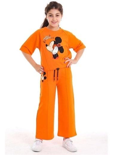 Riccotarz Kız Çocuk Boncuk Detaylı Mickey Mouse Alt Üst Takım Oranj